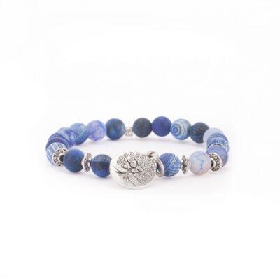 MÁLA - karkötő kék achátból, Életfa függővel