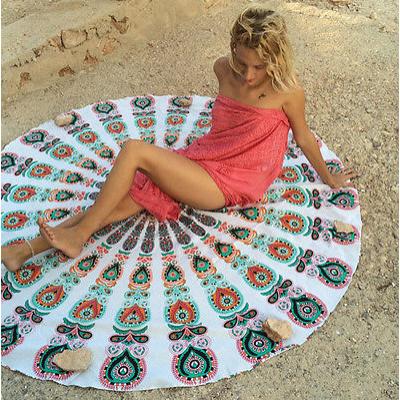 Strandszőnyeg - Fehér mandalás (140 cm)