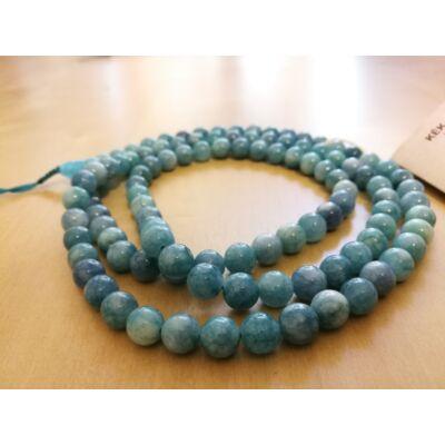 Mála nyaklánc kék jádéból, 108 szemes