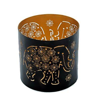 Fekete mécsestartó Elefántos 10 x 10 cm
