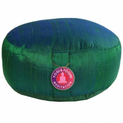 Meditációs párna zöld selyemből