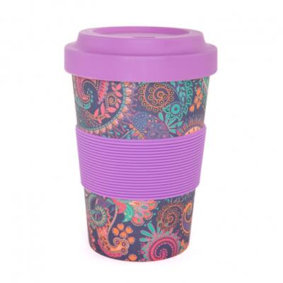 Yogi Cup to go - Jógi bögre elvitelre - Lila virágos cirádás