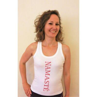 Trikó: Namasté fehér színű női trikó - rózsaszín felirattal