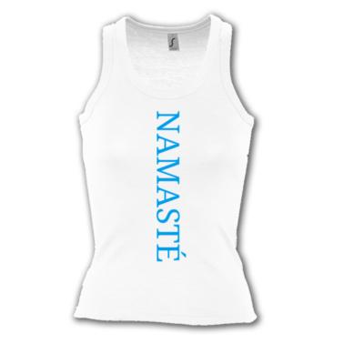Namasté fehér színű női trikó - kék felirattal