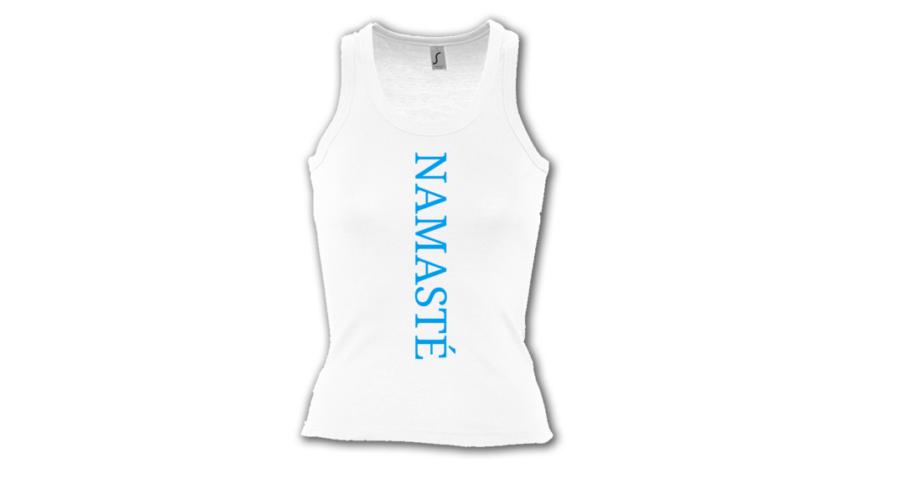c2b9ec1fd8 Namasté fehér színű női trikó - kék felirattal - Felsők - Jógamánia  Webáruház